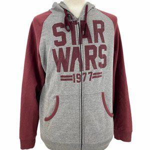 Star Wars Maroon Gray Long Sleeve Full Zip Pockets